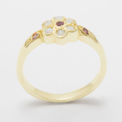 - 18k Yellow Gold Natural Pink Tourmaline & Opal Womens Daisy Ring - Sizes 4 to 12