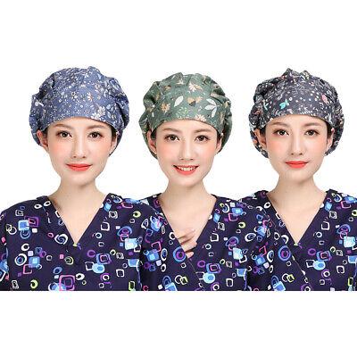 3PCS Cotton Adjustable Scrub Cap Sweatband Bouffant Hat Printed Head Covers