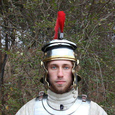 Roman Imperial Centurion Historical Training Costume Helmet Armor 18G Steel - Roman Armour Costume