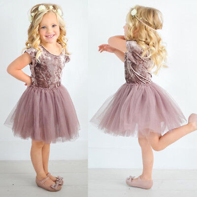 US Stock Kids Baby Girls Velvet Tutu Lace Dress Toddler Princess Party Dresses
