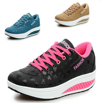 Women's Shape Ups Sneakers Rocker Bottom Lace Up Mid Heel Platform Shoes -
