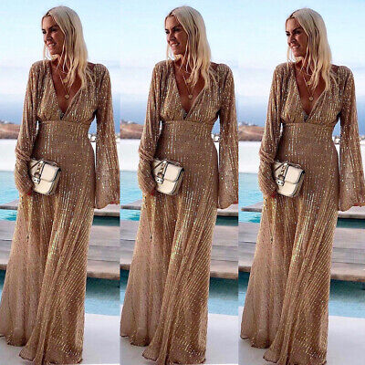 Women V-Neck Long Sleeve Shiny Evening Party Dress Gowns Bridesmaid Cocktail Dre Shiny Party Dress