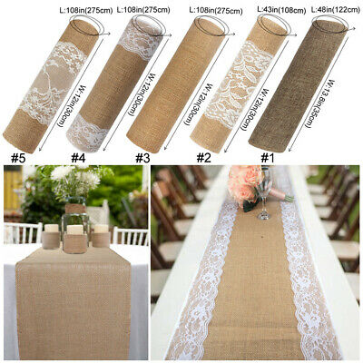 Lace Table Runners Wedding (Natural Rustic Burlap Hessian Lace Table Runner Wedding Banquet Party)