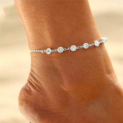 Fashion Jewelry Silver Or Gold Plated Rhinestone Anklet Ankle Bracelet 30-8 ()