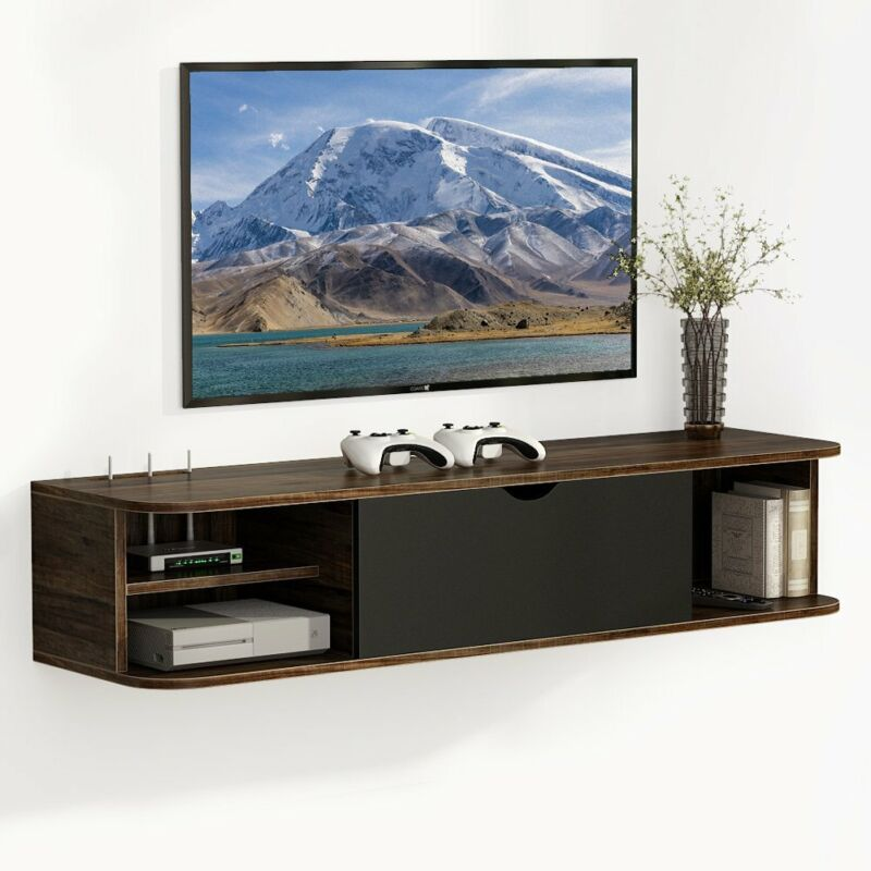 "Floating TV Shelf for Game Consoles CDs Rustic Wall Mounted Media Console 43.3""L"