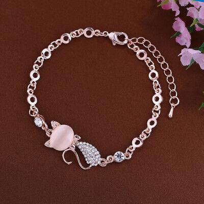 Lovely Cat Pendant Women Opal Rhinestone Bangle Bracelet Chain Jewelry - Cat Bangles