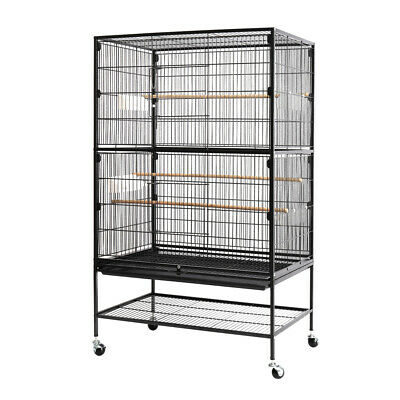 132cm Large Metal Bird Cage With Stand Parrot Budgie Canary Cockatiel Aviary UK