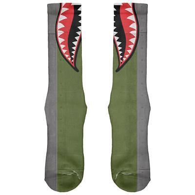 Halloween WWII Flying Tiger Fighter Shark Nose Art All Over Soft Socks](Tiger Nose Halloween)