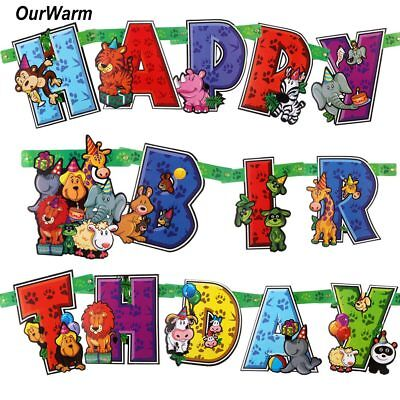 Jungle Safari Animals Party Supplies Happy Birthday Banner Garland Kids DIY Gift - Diy Birthday Banner