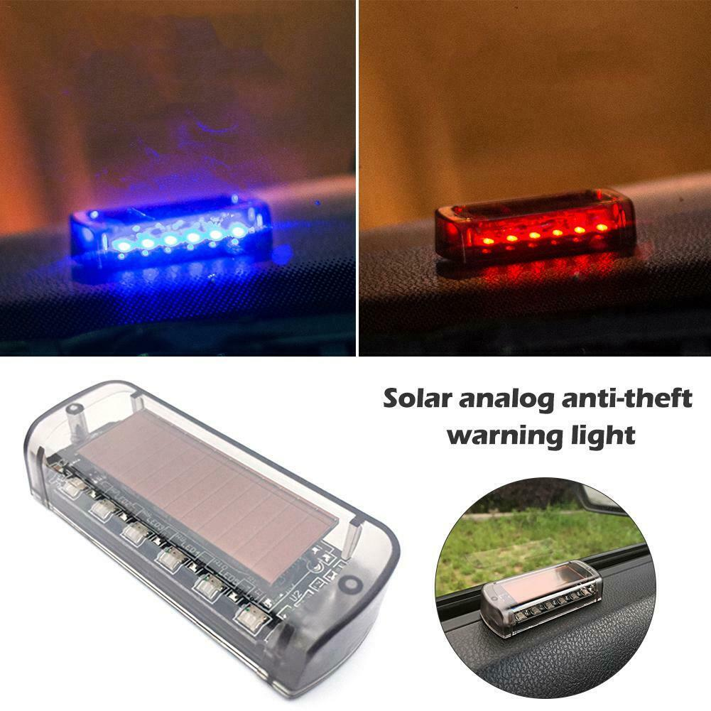 Car Solar Power Simulated Dummy Alarm Warning Anti-Theft LED Flashing Security Light Fake Lamp Red//Blue