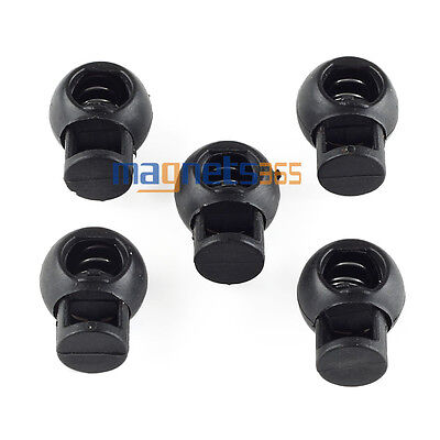 100PC Spring Loaded Plastic Round Toggle Stopper Cord Locks End Buckle Rope (Spring Loaded Buckle)