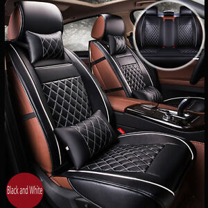 luxury breathable pu leather car seat cover cushion full set cover black white ebay. Black Bedroom Furniture Sets. Home Design Ideas