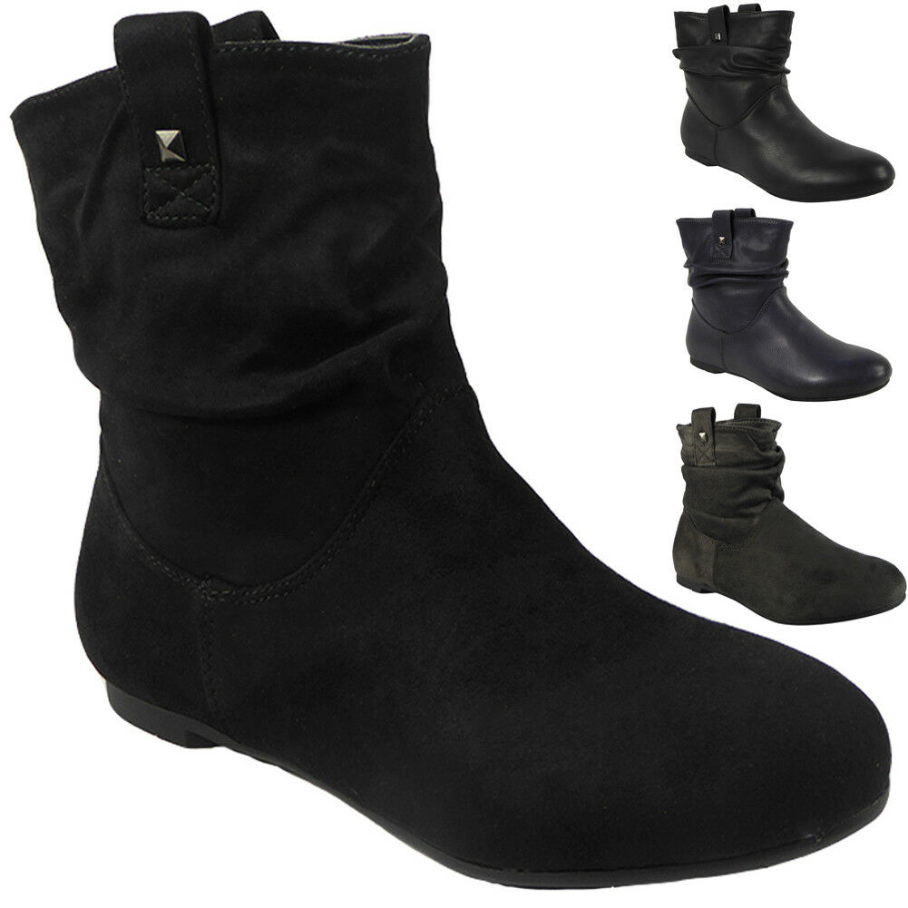 Womens Ankle Boots Ladies Slouch Casual