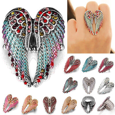 Angel Wings Stretch Ring Crystal Rhinestone Fashion Bling Jewelry Gift Braw Hot