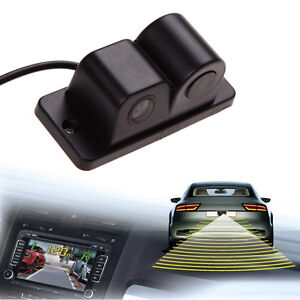 2in1 Universal Car Visual Reversing Camera W/ Backup Parking Sensor Radar System