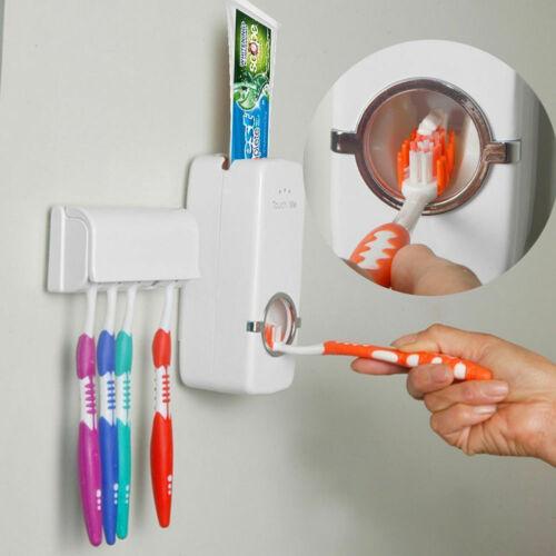 Automatische Toothpaste Zahnpastaspender + 5 Zahnbürstenhalter Set Wandhalterung