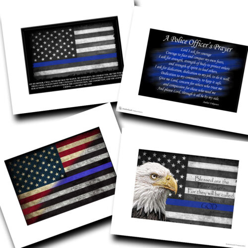 Police Prayer, Thin Blue Line Flag, Blessed Are The Peacemakers Design Prints