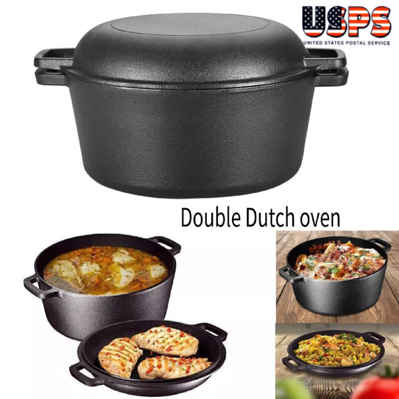 Cast Iron 5 Qt Double Dutch Oven Pot Casserole Skillet Induction Cookware Black