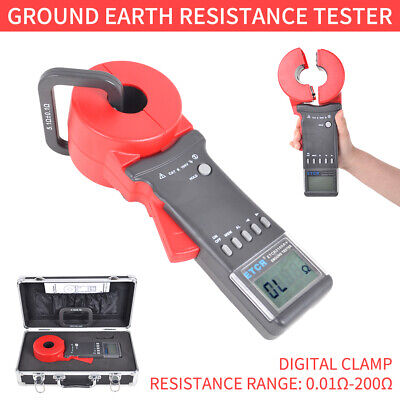 Etcr2100a Digital Clamp On Ground Earth Resistance Tester Meter 0.01-200 In Us