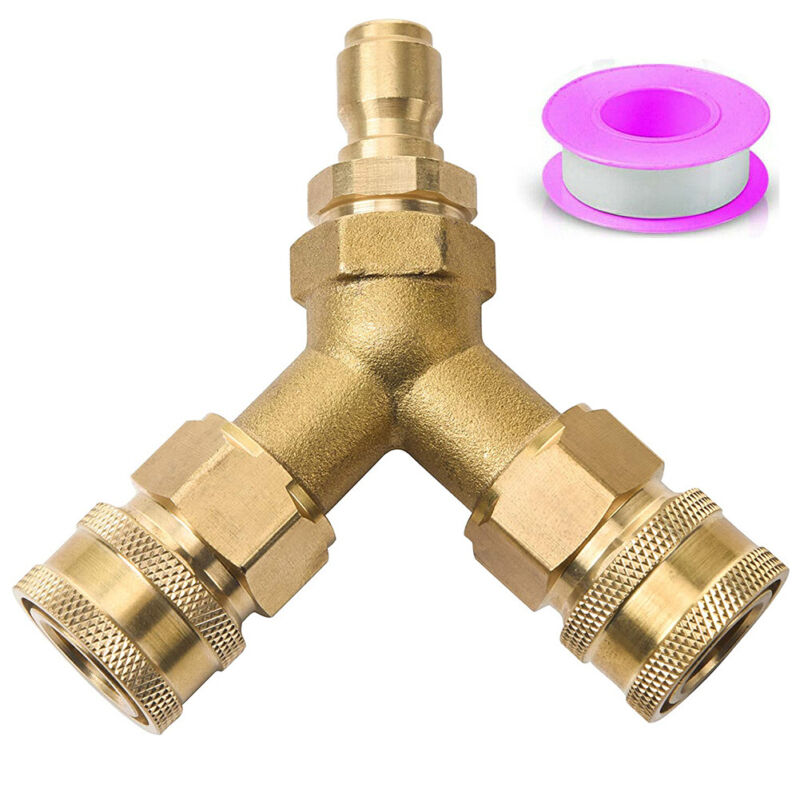 3/8 Fitting Pressure Washer Tee, Splitter Coupler, Quick Connect Two Gun to One