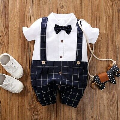 US NEWBORN Baby Boy Formal*Party*Wedding* Bow Romper Bodysuit Jumpsuit (Baby Boy Wedding Clothes)