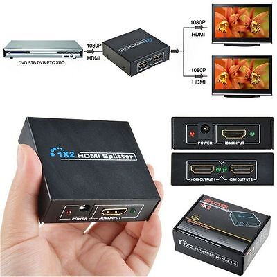 NEW 1x2 HDMI Splitter v1.4D ViewHD One Input to Two Output Top US Plug