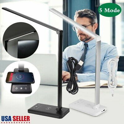 5Mode Dimmable Angle Adust Wireless Charger LED Desk Lamp Home Table Night Light