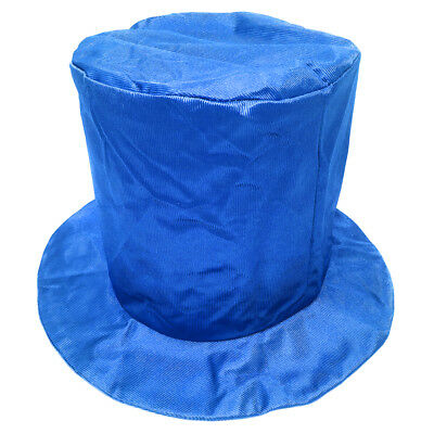 Adult Shiny Blue Top Hat ~ FUN HALLOWEEN, COSTUME, NEW YEAR'S, BIRTHDAY, - Blue Top Hat