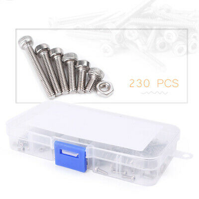 230pcs M2 Stainless Steel Metric Hex Socket Button Head Screw Bolt Nuts Assorted