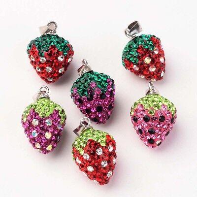 5PC Strawberry Clay Czech Rhinestone Pendants DIY Charm Necklace Sterling Silver