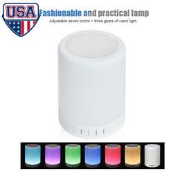 LED Night Light Wireless Bluetooth Speaker Alarm Clock Sensor Bedside Lamp USA