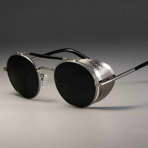 Black Vintage Retro Steampunk Gothic Punk Side Shields Hipster Round Sunglasses Clothing, Shoes & Accessories