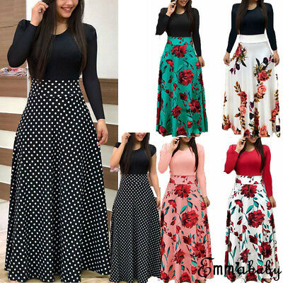 US Women Floral Boho Maxi Dress Hawiian Evening Party Beach Casual Long Sundress
