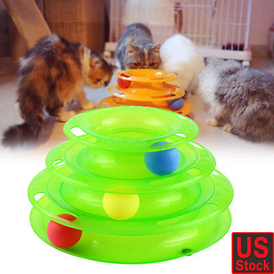 Pet Cat Crazy Ball Disk Interactive Toys Amusement Plate Trilaminar Funny Toy - Balls Funny
