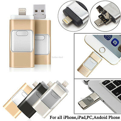 128GB 3 in 1 OTG USB Memory Flash Drive U Disk For IOS iPhone Android Phone/PC