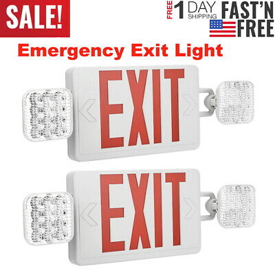 Led Exit Sign Emergency Light Dual Head Red Compact Combo Safety Battery Backup