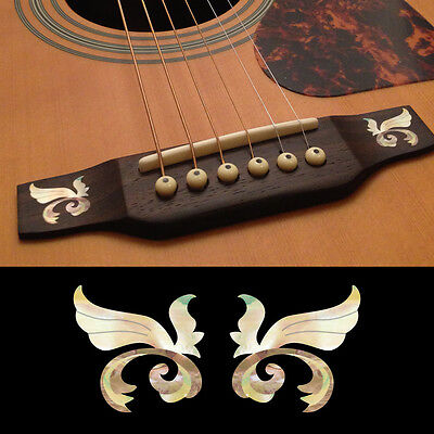 Inlay Stickers Decals Guitar Bridge Little Wing White Pearl 2pcs/set - $8.50