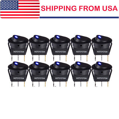 10x Rocker Switches Round Toggle Onoff Car Snap In Switch Blue Led Us Shipping
