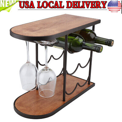 Wine Rack Free Standing Countertop 3 Tier Bottle Holder Storage 6 Bottles 2 -