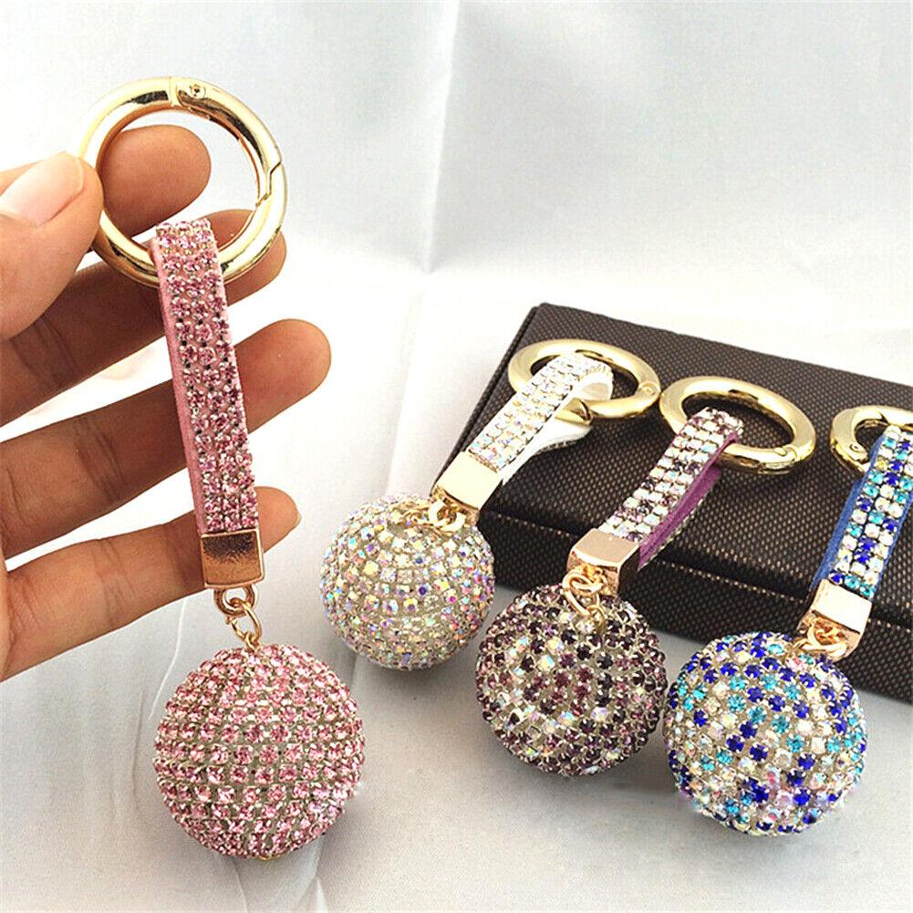 Crystal Rhinestone Ball Leather Strap Key Ring Keychain Fash