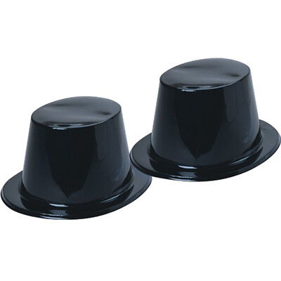 12ct Shiny Black Plastic Top Hats