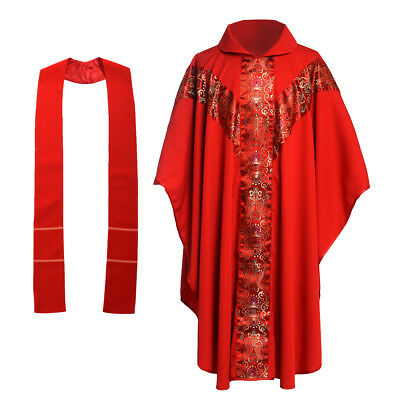 Red Chasuble - Catholic Chasuble Vestments Robe Cope Church Clergy Priest Pastor Embroidery Red