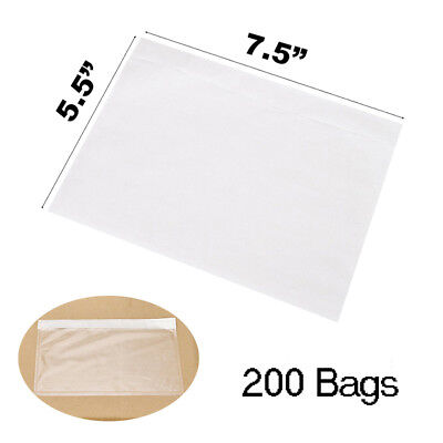 200 Packing List Pouches 7.5x5.5 Enclosed Bag Invoice Shipping Label Envelopes