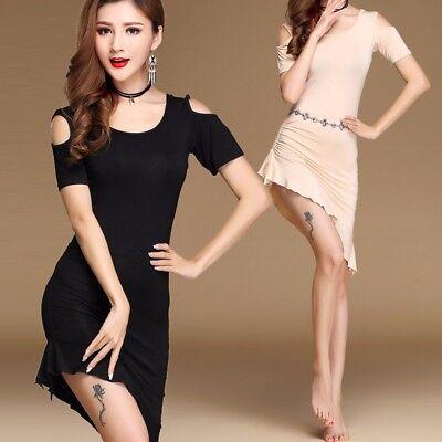 AU NEW Belly Dance Latin train Skirt Soft Stretchy Cotton Midriff Dancing Wear