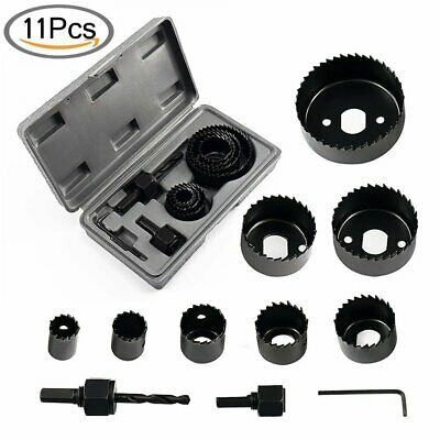 11pcs Hole Saw Drill Bit Kit Set Mandrel Wood Sheet Metal Plastic 34 To 2 12