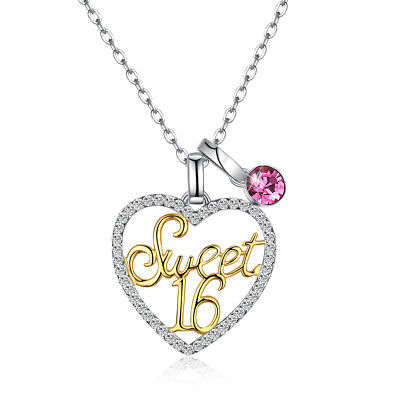 SWEET 16 Necklace Sixteen Birthday Filigree Heart Charm Pendant STERLING SILVER - Birthday Necklaces