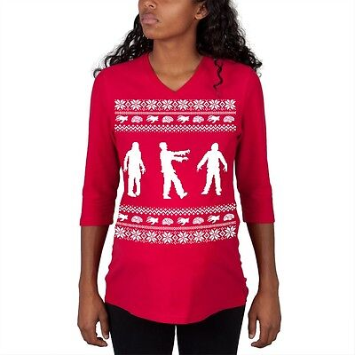 Zombie Ugly Christmas Sweater Red Maternity 3/4 sleeve T-shirt - Maternity Christmas Sweaters