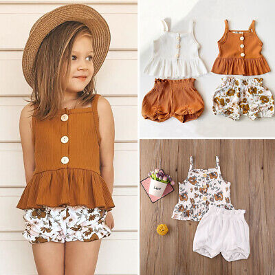 US Summer Kids Baby Girl Sleeveless Knitted Tops Dress+Shorts Pants Clothes Set