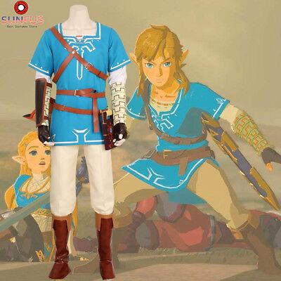 Zelda Breath of the Wild Link Costume Cosplay Halloween Tunic Full Set Deluex (Halloween Costumes Zelda)
