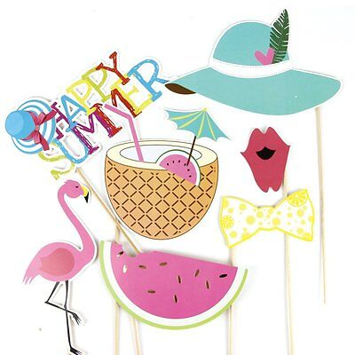 Summer Party Photo Booth Props Kit Flamingo Pineapple for Luau Tiki Party - Luau Photo Props